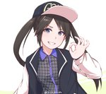 1girl baseball_cap black_hair blue_eyes disco_brando grin hat idolmaster idolmaster_shiny_colors long_hair looking_at_viewer mitsumine_yuika ok_sign simple_background smile solo twintails twitter_username underwear white_background