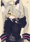 +_+ 1girl ahoge animal_ear_fluff animal_ears bangs black_hoodie blush brown_background closed_mouth clothes_writing commentary_request eyebrows_visible_through_hair green_eyes grey_hair hair_over_one_eye hands_up highres hood hood_down hoodie long_hair long_sleeves looking_at_viewer muuran original romaji_text signature simple_background sleeves_past_wrists smile solo twintails upper_body very_long_hair