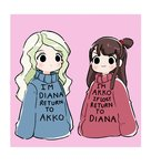 2girls :3 >:3 black_eyes blonde_hair blush brown_hair closed_mouth commentary cosplay diana_cavendish english gravity_falls highres implied_yuri kagari_atsuko little_witch_academia long_sleeves looking_at_viewer mabel_pines mabel_pines_(cosplay) multiple_girls pink_background rey_2911 sweater v-shaped_eyebrows