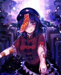 1girl blue_eyes blue_hair hat highres licking_lips looking_at_viewer miyako_yoshika ofuda one_eye_covered outstretched_arms scar smile solo star stitches tis_(shan0x0shan) tongue tongue_out touhou upper_body zombie_pose