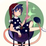 1girl animal_ears blue_eyes blue_hair blush buna_shimeji_(keymush) crop_top crop_top_overhang cup doremy_sweet dress extra_ears food fruit in_container in_cup layered_dress long_hair minigirl raspberry short_hair sitting smile socks solo sparkle_background spilling syrup tail tapir_ears tapir_tail touhou