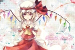 1girl 6u_(eternal_land) :d ascot bad_id bad_pixiv_id blonde_hair fang flandre_scarlet hat open_mouth ponytail red_eyes short_hair side_ponytail smile solo touhou wings