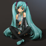 1girl aqua_eyes aqua_hair detached_sleeves hatsune_miku headphones headset long_hair looking_at_viewer nail_polish necktie rustle sitting skirt smile solo spring_onion thighhighs twintails very_long_hair vocaloid zettai_ryouiki