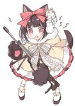 1girl animal_ears blush bow brown_hair commentary_request dog_ears dog_girl dog_tail dress fang full_body fur-trimmed_hood fur_trim girls_frontline gloves gun hair_bow hood hood_down hooded_dress lightning_bolt looking_at_viewer m99_(girls_frontline) object_namesake open_mouth paw_gloves paws platform_footwear purple_eyes red_bow shoes simple_background solo standing striped striped_bow tail tsuka weapon white_background white_footwear yellow_dress zijiang_m99