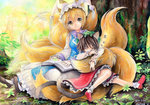 2girls :3 acrylic_paint_(medium) animal_ears artist_name blonde_hair bobby_socks book brown_hair cat_ears chen closed_eyes colored_pencil_(medium) dated forest fox_tail frilled_skirt frills hat loafers long_sleeves looking_at_viewer mosho moss multiple_girls multiple_tails nature outdoors shoes short_hair signature sitting skirt sleeping sleeping_on_person socks tabard tail touhou traditional_media tree two_tails watercolor_(medium) yakumo_ran yellow_eyes zzz