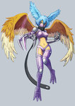 1girl blue_eyes blue_hair breasts digimon digimon_frontier face_mask mask scarf short_hair shutumon wings