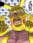 1boy bad_id bad_pixiv_id cosplay costume gen_1_pokemon horror_(theme) kupaa licking_lips male_focus masao mask pikachu pikachu_(cosplay) pokemon solo tongue tongue_out translated upper_body