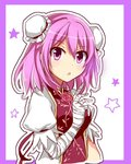 1girl bandaged_arm double_bun dress flower ibaraki_kasen looking_at_viewer open_mouth outline pink_eyes pink_hair puffy_sleeves rose short_hair sketch solo star tabard touhou upper_body yada_(xxxadaman)