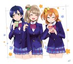 3girls bangs blue_hair closed_eyes commentary_request drink drinking drinking_straw grey_hair hair_between_eyes highres holding kousaka_honoka long_hair love_live! love_live!_school_idol_project minami_kotori multiple_girls one_side_up orange_hair otonokizaka_school_uniform simple_background smile sonoda_umi suan_ringo white_background yellow_eyes
