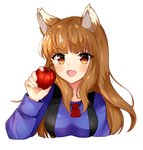 1girl animal_ears apple arm_up blue_shirt blush breasts brown_hair cheyenneo fang food fruit heart heart-shaped_pupils highres holding holding_food holding_fruit holo jewelry long_hair long_sleeves marker_(medium) medium_breasts necklace open_mouth red_eyes shirt simple_background solo spice_and_wolf symbol-shaped_pupils traditional_media upper_body white_background wolf_ears
