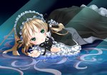 1girl black_dress blonde_hair dress frills gosick gothic_lolita green_eyes hairband lolita_fashion long_hair lying lying_on_water on_stomach ribbon solo very_long_hair victorica_de_blois wt