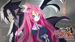 1boy 1girl 2013 artina_(disgaea) black_hair blue_eyes cape company_name copyright_name cravat disgaea harada_takehito highres long_hair makai_senki_disgaea_4 official_art pink_hair pointy_ears ponytail red_eyes smile valvatorez_(disgaea) wallpaper