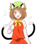 1girl animal_ears bad_id bad_pixiv_id blush brown_eyes brown_hair cat_ears cat_tail chen commentary ear_piercing eyebrows_visible_through_hair green_hat hat highres long_sleeves looking_at_viewer multiple_tails open_mouth piercing red_skirt ribbon round_teeth shiisuu_rattamu short_hair skirt solo tail teeth touhou two_tails upper_body wide-eyed yellow_ribbon