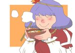 closed_eyes commentary_request eating food onikobe_rin purple_hair short_hair smile touhou yasaka_kanako