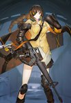 1girl armband assault_rifle bangs black_eyes black_gloves black_skirt braid breasts buttons carrying carrying_over_shoulder closed_mouth commentary_request eyebrows_visible_through_hair eyepatch girls_frontline gloves gun headphones headphones_around_neck highres holding holding_gun holding_weapon jacket knee_pads long_hair long_sleeves m16 m16a1 m16a1_(girls_frontline) multicolored_hair necktie panko_(drive_co) rifle shirt skirt solo standing streaked_hair weapon