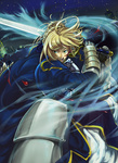1girl armor armored_dress artoria_pendragon_(all) blonde_hair blood colmack dress excalibur fate/stay_night fate_(series) faulds gauntlets green_eyes hair_ribbon highres open_mouth ribbon saber solo sword weapon