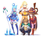 1boy 3girls aqua_(konosuba) black_hair black_legwear blue_boots blue_eyes blue_hair boots breasts brown_boots brown_hair brown_hat cleavage coin darkness_(konosuba) green_eyes hat high_heels holding holding_staff knee_boots kneeling kono_subarashii_sekai_ni_shukufuku_wo! large_breasts long_hair looking_at_another looking_away loup megumin multiple_girls ponytail red_eyes satou_kazuma short_hair staff sweatdrop thigh_boots thighhighs white_legwear