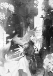 1girl absurdres animal_ears cityscape commentary_request dress eyebrows_visible_through_hair flower fur-trimmed_vest fur_collar highres holo idarintarou long_dress long_hair looking_at_viewer monochrome open_mouth outstretched_arm pouch road scenery sett solo spice_and_wolf street tail wolf_ears wolf_girl wolf_tail