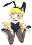 1girl animal_ears black_legwear blonde_hair blush blush_stickers breasts bunny_ears bunnysuit covered_navel equus_ignis fang from_above high_heels highres long_hair looking_at_viewer looking_up monogatari_(series) navel oshino_shinobu pantyhose pointy_ears simple_background sitting small_breasts solo white_background wrist_cuffs yellow_eyes