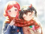 2girls black_hair blue_coat blush bow brown_coat closed_eyes closed_mouth coat hair_bow long_sleeves looking_at_another love_live! love_live!_school_idol_project megumi_cv multiple_girls nishikino_maki plaid plaid_scarf purple_eyes red_bow red_hair red_scarf scarf shared_scarf short_hair smile twintails yazawa_nico