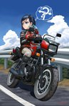 1girl abazu-red artist_name bangs black_eyes black_footwear black_hair blue_sky book boots cloud cloudy_sky day frown gloves grey_pants ground_vehicle helmet highres holding holding_book honda honda_cb700sc jacket leather leather_gloves leather_jacket looking_to_the_side motor_vehicle motorcycle motorcycle_helmet original outdoors pants railing red_gloves red_jacket riding romaji signature sitting sky solo swept_bangs thought_bubble translated