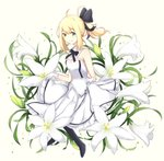 1girl artoria_pendragon_(all) bangs bare_shoulders black_bow black_footwear blonde_hair blush boots bow breasts brown_background closed_mouth collar commentary detached_collar dress eyebrows_visible_through_hair fate/unlimited_codes fate_(series) flower frilled_dress frills gloves green_eyes hair_between_eyes hair_bow ponytail rocm_(nkkf3785) saber_lily sidelocks skirt_hold small_breasts smile solo strapless strapless_dress twitter_username white_collar white_dress white_flower white_gloves