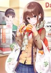 1boy 1girl 7-eleven bag bangs baozi blue_skirt blue_vest blurry blurry_background blush brand_name_imitation brown_cardigan brown_eyes brown_hair brown_jacket cashier commentary convenience_store cowboy_shot display display_case employee_uniform eyebrows_visible_through_hair food green_shirt hands_up highres holding holding_food ice_cream jacket long_sleeves looking_at_another looking_down medium_hair name_tag neck_ribbon open_clothes open_jacket open_vest original plaid plaid_scarf plaid_skirt plastic_bag polo_shirt ran9u red_bag red_nails red_neckwear ribbon scarf sexually_suggestive shelf shirt shop shopping_bag short_hair sidelocks skirt smile sparkle steam surprised sweatdrop table uniform upper_body vest wall white_shirt