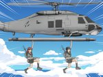 2girls aircraft anatamo bangs black_hair blunt_bangs braid brown_hair commentary_request contra contra_iii_the_alien_wars hair_over_shoulder helicopter kantai_collection kitakami_(kantai_collection) long_hair missile multiple_girls neckerchief ooi_(kantai_collection) parody rigging school_uniform serafuku sidelocks single_braid straight_hair weapon