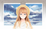 1girl angel bangs_pinned_back blonde_hair blue_eyes blue_sky brown_hair calm cloud cloudy_sky dress hair_over_shoulder half-closed_eyes halo looking_at_viewer original sebastian_(artist) sky solo white_dress window