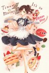1girl apron balancing black_footwear blue_neckwear blue_ribbon blueberry breasts brown_hair cake coin colored_pencil_(medium) commentary_request dish english_text fingernails food frilled_apron frills fruit green_eyes highres holding holding_plate ice_cream looking_at_viewer macaron maid maid_apron marker_(medium) money nail_polish neck_ribbon original pink_macaron pink_nails plate pocky puddle puffy_short_sleeves puffy_sleeves raspberry ribbon san'nomiya short_hair short_sleeves slice_of_cake small_breasts solo sparkle standing standing_on_one_leg strawberry strawberry_shortcake sundae sweets swiss_roll traditional_media underbust waist_apron white_apron