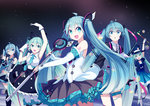 5girls absurdres ahoge aqua_eyes aqua_hair arm_up detached_sleeves dress gloves hat hatsune_miku highres long_hair magical_mirai_(vocaloid) microphone multiple_girls musical_note necktie one_eye_closed open_mouth pantyhose siji_(szh5522) skirt smile thigh_strap thighhighs top_hat twintails very_long_hair vocaloid