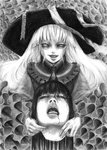 2girls bangs blood blunt_bangs decapitation dress evil_smile fingernails frills greyscale grin guro hane_(azelye) hat komeiji_koishi long_hair looking_at_viewer monochrome multiple_girls nail necktie open_mouth smile too_many too_many_frills touhou