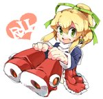 1girl blonde_hair blush boots character_name dress green_eyes hair_between_eyes hair_ribbon hands_on_own_knees high_ponytail iroyopon long_hair looking_at_viewer metool open_mouth ponytail red_footwear ribbon rockman rockman_(classic) rockman_8 roll sidelocks sitting smile solo teeth