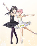 2girls akemi_homura armlet armpits ballerina ballet ballet_slippers black_hair breasts choker collarbone dress full_body hair_bun hair_ornament highres jewelry kaname_madoka kinfuji long_hair looking_at_another looking_at_viewer mahou_shoujo_madoka_magica multiple_girls open_mouth pantyhose pink_eyes pink_hair purple_eyes smile strapless swan_lake