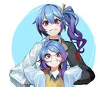 2girls bangs black_jacket blue_eyes blue_hair breasts commentary da_(dsasd751) girls_frontline glasses grin hair_between_eyes hair_ornament hairclip jacket k11_(girls_frontline) long_hair long_sleeves looking_at_viewer messy_hair multiple_girls purple_eyes purple_hair shirt side_ponytail smile teeth time_paradox two-tone_jacket white_jacket