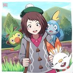 1girl alternate_costume artist_name backpack bag blurry blurry_background boku_no_hero_academia brown_eyes brown_hair cardigan commentary_request cosplay day eyebrows_visible_through_hair female_protagonist_(pokemon_swsh) female_protagonist_(pokemon_swsh)_(cosplay) gen_8_pokemon grey_cardigan grookey happy hat highres long_sleeves looking_at_viewer mountain neotwenty outdoors pink_shirt pokemon pokemon_(creature) pokemon_(game) pokemon_swsh scorbunny shirt short_hair sky smile sobble solo tree upper_body upper_teeth uraraka_ochako