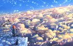 1girl :d ^_^ above_clouds animal arm_support bangs black_cat blue_dress blue_sky capelet cat closed_eyes cloud cloudy_sky commentary_request cup day diffraction_spikes dress dutch_angle facing_viewer feathers holding holding_cup long_sleeves looking_back magic mug open_mouth original outdoors red_hair sakimori_(hououbds) scenery short_hair sidelocks sitting sky smile solo sunlight telescope wide_shot