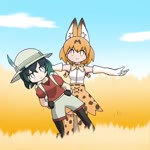 2girls :3 animal_ears animated backpack bag black_gloves black_hair black_legwear blonde_hair blue_eyes blue_hair bow bowtie commentary_request elbow_gloves full_body gloves hands_on_hips hat hat_feather kaban_(kemono_friends) kemono_friends mp4 multiple_girls outstretched_arms pantyhose red_shirt serval_(kemono_friends) serval_ears serval_print shirt short_hair short_sleeves shorts swaying tagme taro_(taro)