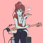 alternate_costume amplifier banjo blue_skin breasts casual cleavage e-cigarette hair_ornament half-closed_eyes holding holding_pipe instrument large_breasts onsen_tamago_(hs_egg) pink_background pipe red_eyes red_shirt shirt short_sleeves simple_background sitting smoking stitches thighhighs yuugiri_(zombie_land_saga) zombie zombie_land_saga