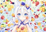 1girl :3 animal_ear_fluff animal_ears apple bangs blue_bow blue_eyes blueberry blush bow cat_ears cherry closed_mouth commentary dress english_commentary flower food food_print food_request fruit hair_between_eyes hair_bow hands_up holding holding_food holding_fruit kiwifruit lemon lime_(fruit) long_hair natsumii_chan orange orange_bow orange_dress original peach pear print_dress raspberry red_apple red_flower red_rose rose solo strapless strapless_dress strawberry very_long_hair white_flower white_hair white_rose