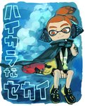 1boy 2girls bike_shorts black_shorts blonde_hair commentary_request cuddling domino_mask earmuffs headgear highres inkling makeup mascara mask medium_hair multiple_girls octoling octopus orange_eyes orange_hair pointy_ears short_eyebrows shorts smile splatoon_(series) splatoon_2 splatoon_2:_octo_expansion squid squidbeak_splatoon suction_cups tentacle_hair tona_bnkz translated vest yellow_coat yellow_vest