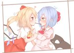 2girls arm_grab ascot bat_wings black_wings blonde_hair blue_hair blush brooch commentary_request crystal flandre_scarlet food from_side heart jewelry long_sleeves multiple_girls pink_shirt pocky pocky_kiss pointy_ears puffy_sleeves red_eyes red_neckwear red_skirt red_vest remilia_scarlet sakurea shirt siblings sisters skirt skirt_set touhou upper_body vest white_shirt wings yellow_neckwear