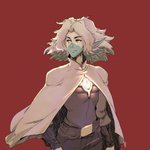 1boy belt big_hair blue_skin cloak commentary david_liu facepaint highres looking_away male_focus medium_hair messy_hair older pointy_ears red_background science_fiction solo standing starlight_brigade strive_(starlight_brigade) thick_eyebrows two-tone_skin white_hair white_skin