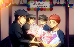 4boys black_eyes black_hair blue_eyes blue_rose bouquet carnival_phantasm emiya_kiritsugu emiya_shirou fate/stay_night fate/zero fate_(series) father_and_son flower glasses kara_no_kyoukai kokutou_mikiya male_focus multiple_boys pink_rose raglan_sleeves red_hair red_rose rose setta_(tokinon) toono_shiki tsukihime type-moon yellow_eyes yellow_rose