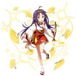 1girl :d ahoge fan floating_hair full_body hair_ornament hakama hakama_skirt holding holding_sword holding_weapon japanese_clothes kimono long_hair looking_at_viewer one_leg_raised open_mouth pointy_ears purple_hair red_eyes red_hakama ribbon-trimmed_sleeves ribbon_trim smile socks solo standing standing_on_one_leg sword sword_art_online transparent_background very_long_hair weapon white_kimono white_legwear yuuki_(sao)