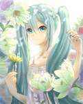 1girl 23-0 blue_eyes blue_hair blue_nails eyebrows_visible_through_hair floating_hair flower hair_between_eyes hatsune_miku holding holding_flower long_hair looking_at_viewer nail_polish see-through shirt solo standing twintails upper_body very_long_hair vocaloid white_flower white_shirt yellow_flower