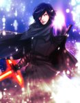 1boy angry black_gloves black_hair blood cloak commentary_request energy energy_sword fujiko_one gloves hair_over_one_eye holding holding_weapon kylo_ren lightsaber lips looking_at_viewer male_focus mask mask_removed scar science_fiction serious sith snowing solo star_wars star_wars:_the_force_awakens starkiller_base sword weapon yellow_eyes