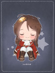 1girl ascot blush boots brown_footwear brown_hair character_name chibi closed_eyes closed_mouth facing_viewer foreign_blue girls_frontline gloves hair_ornament jacket knee_boots lee-enfield_(girls_frontline) long_hair long_sleeves military_jacket pants red_jacket sitting smile solo star white_gloves white_neckwear white_pants