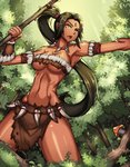 1girl :o >:o absurdres armpits bare_shoulders black_hair breasts cleavage clyde_s commentary cowboy_shot dark_skin day facial_mark forest green_eyes highres large_breasts league_of_legends loincloth long_hair looking_away mushroom nature navel nidalee open_mouth ponytail revealing_clothes solo tree tribal very_long_hair