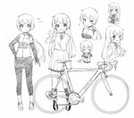 1girl :d >_< apron bangs bicycle blush breasts chibi closed_eyes closed_mouth collared_shirt elbow_gloves eyebrows_visible_through_hair fingerless_gloves gloves greyscale ground_vehicle hands_on_own_face hands_up jacket leggings long_hair low_ponytail monochrome multiple_views neck_ribbon open_clothes open_jacket open_mouth original pigeon-toed pleated_skirt ponytail ribbon school_uniform sekira_ame shirt short_sleeves simple_background skirt small_breasts smile sparkle standing very_long_hair white_background xd
